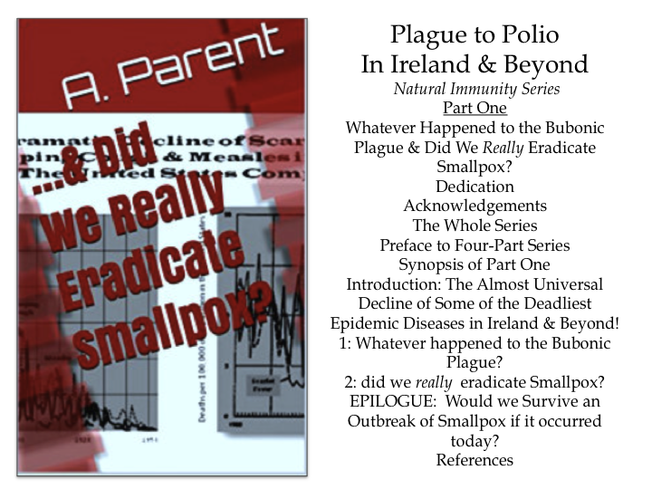 Book cover and TOC Plague to Polio Series Book One